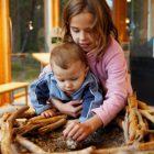 Två barn känner på det ruvningsvarma ägget i fiskgjusens bo, inne i Naturum Värmland.