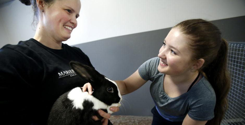 Tjej klappar en kanin tillsammans med en djurvårdare.