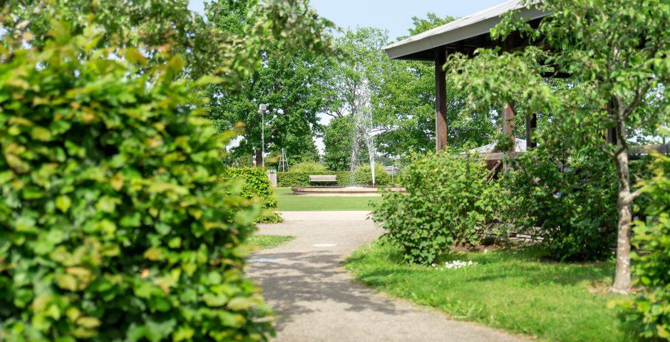 Lummiga lekträdgården med fontän